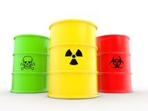 3d barrels con il bio- rischio di radiazioni ed i simboli materiali tossici Immagini Stock