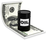 3D barrels of oil. On the background of 100 dollar bill Royalty Free Stock Photo