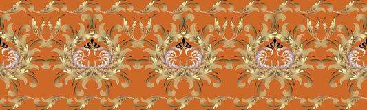 3d barroco florece la frontera inconsútil Modelo repetidor floral V Fotos de archivo libres de regalías
