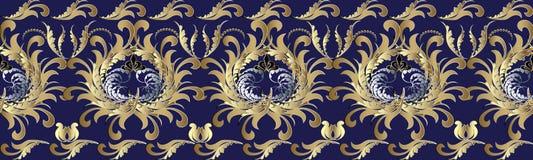 3d barroco florece la frontera inconsútil Modelo repetidor floral V Fotografía de archivo libre de regalías