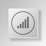 3D Bars Up icon Business Concept. 3D Symbol Gray Square Bars Up icon Business Concept Stock Images