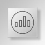 3D Bars Up icon Business Concept. 3D Symbol Gray Square Bars Up icon Business Concept Royalty Free Stock Photo
