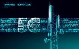 3d base station receiver. telecommunication tower 5g polygonal design global connection information transmitter. Mobile. Radio antenna cellular vector stock illustration