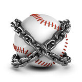 3d Baseball in chains Royalty Free Stock Image