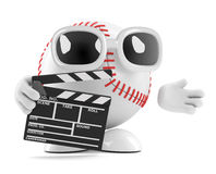 3d Baseball character with a clapperboard. 3d render of a baseball character with a clapperboard Royalty Free Stock Images