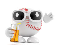 3d Baseball character drinks at the party. 3d render of a baseball character drinking from a glass Royalty Free Stock Photo