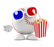 3d Baseball character eats popcorn at the movies. 3d render of a baseball character eating popcorn at the 3d movie Royalty Free Stock Image