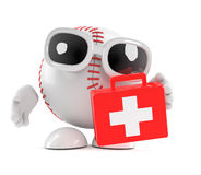 3d Baseball character with a first aid kit. 3d render of a baseball character holding a first aid kit Stock Photography