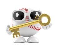 3d Baseball character has a gold key. 3d render of a baseball character holding a gold key Royalty Free Stock Image