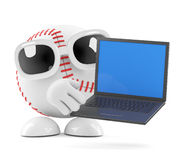3d Baseball character holds a laptop. 3d render of a baseball character with a laptap Royalty Free Stock Image