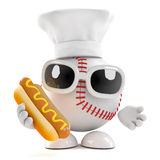 3d Baseball chef cooks a mean hot dog. 3d render of baseball in chefs hat holding a hotdog Stock Photo