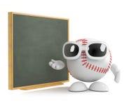 3d Baseball discusses tactics. 3d render of a baseball at a blackboard Stock Photo
