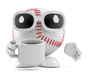 3d Baseball drinks a cup of coffee. 3d render of a baseball character drinking a cup of coffee Royalty Free Stock Photos