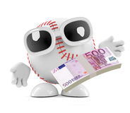 3d Baseball with Euro notes. 3d render of a baseball with Euro bank notes Stock Photos
