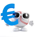 3d Baseball with Euro symbol. 3d render of a baseball character with a Euro currency symbol Stock Images