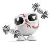 3d Baseball exercises. 3d render of a baseball working out with some weights Stock Photos