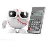 3d Baseball has a calculator. 3d render of a baseball character with a calculator Stock Photos