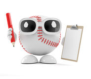 3d Baseball has a clipboard and pencil. 3d render of a baseball character with a clipboard and pencil Royalty Free Stock Images