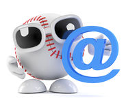 3d Baseball has an email address. 3d render of a baseball character with an email address symbol Stock Photography