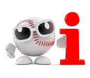 3d Baseball has information. 3d render of a baseball character with an information symbol Royalty Free Stock Images
