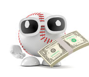 3d Baseball has mucho dollars. 3d render of a baseball in possession of lots of US Dollars Royalty Free Stock Photos