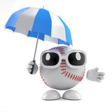 3d Baseball has an umbrella. 3d render of a baseball character holding an umbrella Royalty Free Stock Photography