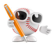 3d Baseball holding a pen. 3d render of a baseball with a pen Royalty Free Stock Photo