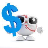 3d Baseball holds US Dollar currency symbol. 3d render of a baseball character holding a US Dollar currency symbol Stock Photo