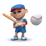 3d Baseball kid has hit the ball. 3d render of a kid who has hit a baseball Stock Photos