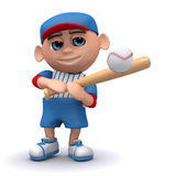 3d Baseball kid hits the ball. 3d render of a kid hitting a baseball with a bat Royalty Free Stock Photography
