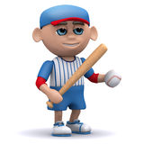 3d Baseball kid holds the ball. 3d render of a kid holding a baseball and bat Stock Images