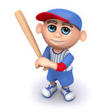 3d Baseball kid looks up. 3d render of a kid looking up and holding a baseball bat Royalty Free Stock Image