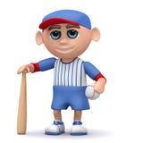 3d Baseball kid. 3d render of a kid posing with a baseball bat and ball Royalty Free Stock Images