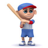 3d Baseball kid stands ready with the bat Royalty Free Stock Image