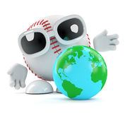 3d Baseball looks at a globe of the Earth. 3d render of a baseball character with a globe of the Earth Royalty Free Stock Photo
