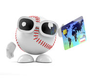 3d Baseball pays with a debit card. 3d render of a baseball character holding a debit card Royalty Free Stock Images