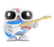 3d Baseball plays electric guitar Royalty Free Stock Photo