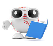 3d Baseball reads a book Stock Photo