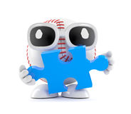 3d Baseball solves the puzzle. 3d render of a baseball character holding a jigsaw puzzle piece Royalty Free Stock Photos