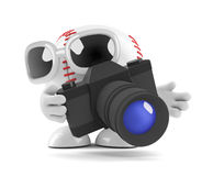 3d Baseball takes photographs of the game. 3d render of a baseball character with a camera Stock Photo