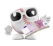 3d baseball z Euro notatkami Zdjęcia Stock
