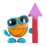 3d Basektball looks up. 3d render of a basketball character with upward pointing arrow Royalty Free Stock Photography
