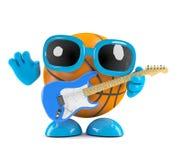 3d Basektball plays electric guitar. 3d render of a basketball playing electric guitar Stock Image