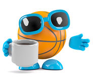 3d Basketbal neemt een koffiepauze Stock Fotografie