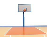 3d Basketball ball falling into a ring. Basketball ball falling into a ring. 3d render image Royalty Free Stock Photos