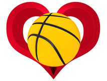 3D Basketball ball in red heart. On a white background Stock Photos