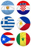 3D basketball balls with group B teams flags, Spain 2014 Royalty Free Stock Photo