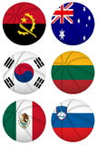 3D basketball balls with group D teams flags, Spain 2014 Stock Photo