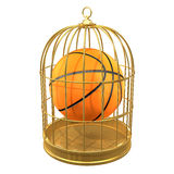 3d Basketball in a birdcage. 3d render of a basketball in a birdcage Stock Photography