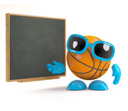 3d Basketball at the blackboard. 3d render of a basketball character teaching at the blackboard Royalty Free Stock Photos